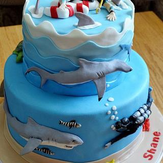 SHARKS - Cake by Jenny Kennedy Jenny's Haute Cakes