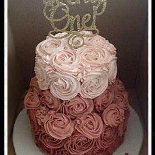 dusty rose buttercream rosette cake