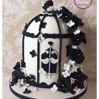 Monochrome birdcage bloom - Cake by Lillie Loves Cakes