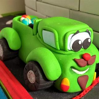 Green truck cake topper.