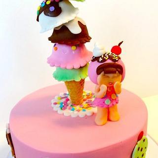 Ice cream cone kawaii cake