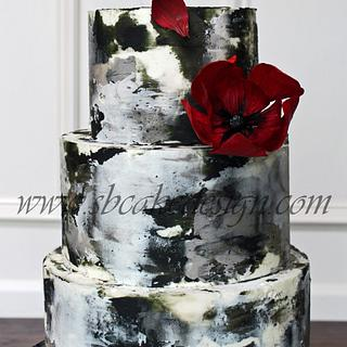Grayscale Buttercream Cake