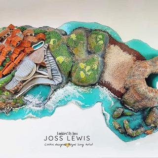 Azenhas De Mar & Gruta de Benagil- Portugal sugar Wonders collaboration - Cake by Cookies by Joss