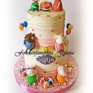 Peppa pig themed cake