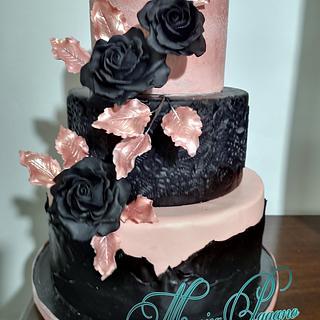 Torta rosa gold e nero