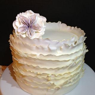 fondant frill with cabbage rose