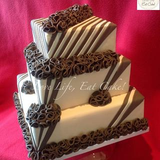Ruffles and stripes wedding cake