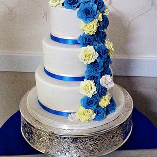 Blue and Yellow Rose Wedding Cake