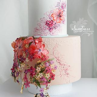 Free floating wafer Paper border Cake
