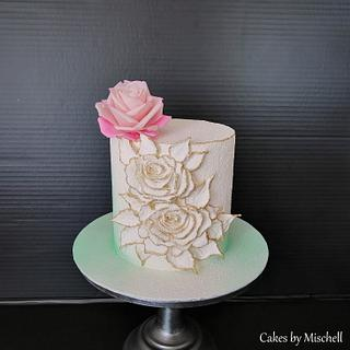 Cake with sugar rose - Cake by Mischell
