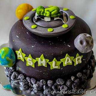 Alien/Space themed baby Shower Cake