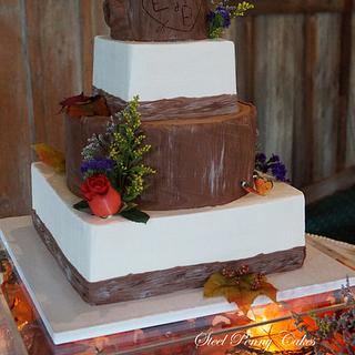 Rustic tree stump wedding cake