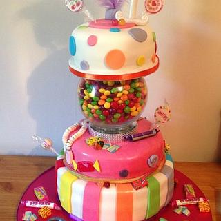 Second tiered cake - 21st sweet cake with a twist :)