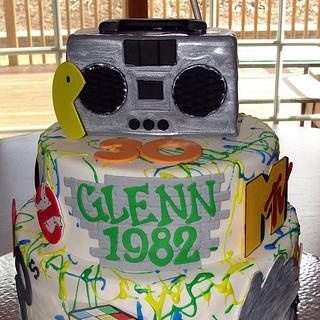 80's themed 30th birthday cake