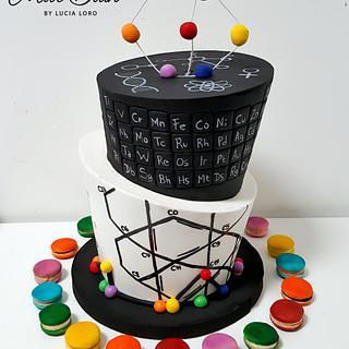 Scientific Topsy Turvy cake & macarons