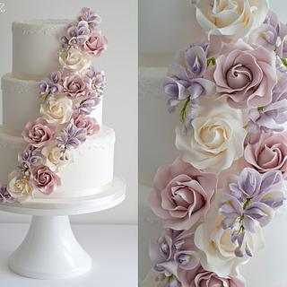 Cascading roses and wisteria