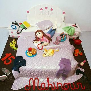 messy bedroom teens cake