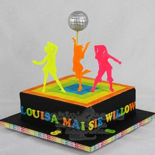 Neon Disco Party cake