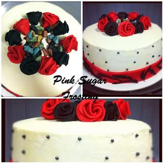 RED AND BLACK ROSE CAKE