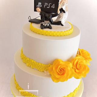 Wedding cake with yellow roses