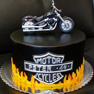 cake with motorcycle - Cake by OSLAVKA