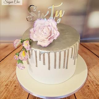 Lilac & Silver Floral Drip Cake  - Cake by Sugar Chic