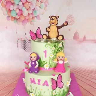 Masha, bear and little girl cake