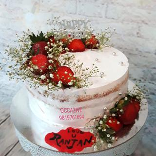 Semi Naked Rustic Strawberry cream cake
