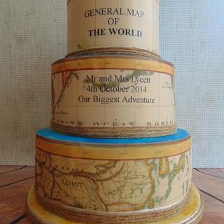 Vintage map wedding cake