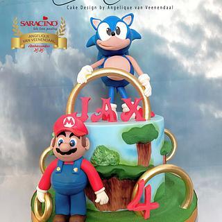 Sonic & Mario cake