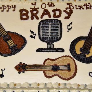 Bluegrass music cake in buttercream