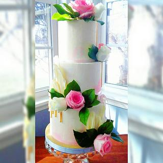 Pink water color Wedding cake