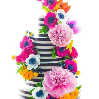 Black and White Stripe Sugar Flower Cake