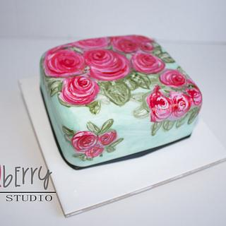 Painted Christmas Cake - Scribble Roses