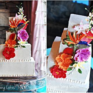 Island Florals Wedding Cake