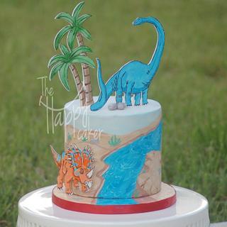 Painted dinosaur cake