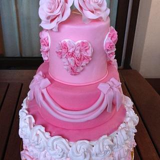 Mini wedding cake... Ruffles and rose
