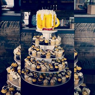 Beer Mug cupcake tower