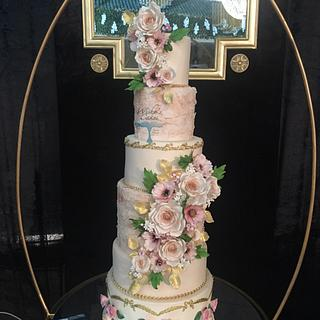 PEACH LACE WEDDING CAKE