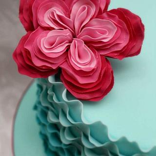 ombre ruffle rose cake
