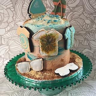 """Beach Themed Cake  - Cake by June (""""Clarky's Cakes"""")"""
