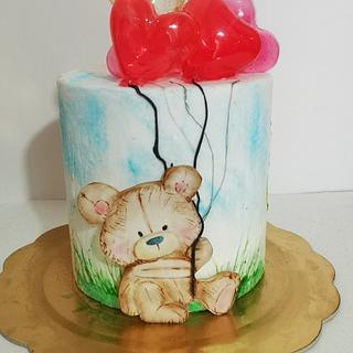 Torta orsetto  dipinto per san Valentino
