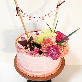 Cream cake with fresh carnations - Cake by Lavender crust