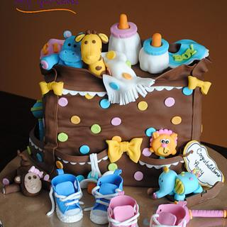 Baby Shower Diaper Bag Cake for Twins!