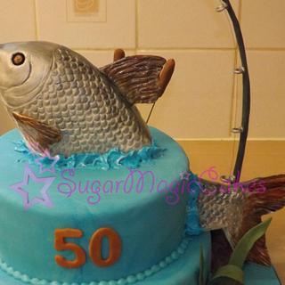 Splashing fish 50th cake