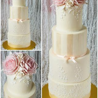 Wedding Cake with Peonies Roses and Royal Icing