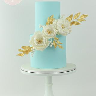 Powder Blue, Peonies, and Gold