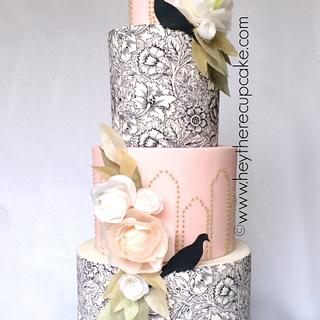 Art Nouveau Wafer Paper Wedding Cake  - Cake by Stevi Auble