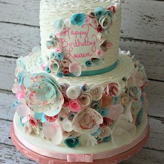 Floral wafer paper flower cake - Cake by Lily White's Party Cakes