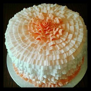 Peach ruffle ombre cake
